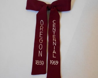 Vintage Oregon Centennial 1959 Clip on Bow Tie Burgundy Red