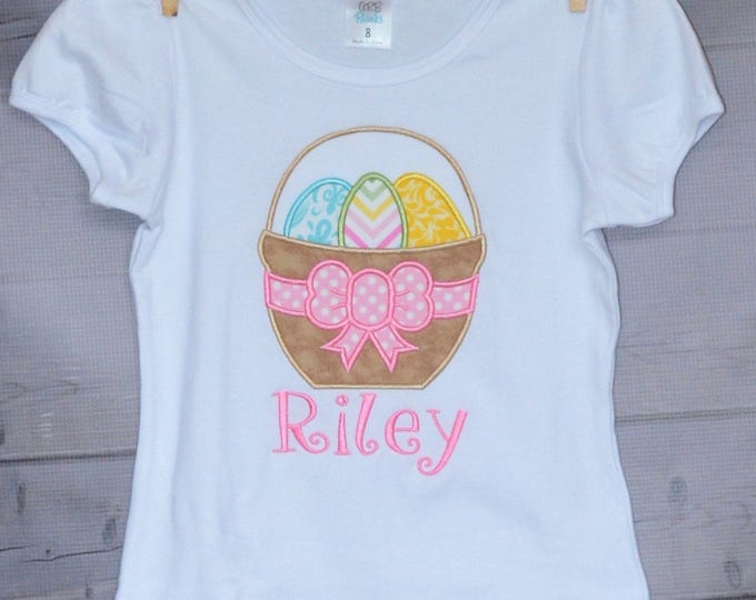 Featured listing image: Personalized Easter Basket with Bow and Eggs Applique Shirt or Onesie Girl or Boy