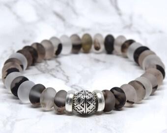 Gorgeous Cloudy Quartz Bracelet, Beaded Bracelet, Layering Stretch Bracelet, Carved Silver Focal, Grey Translucent and Charcoal Tones