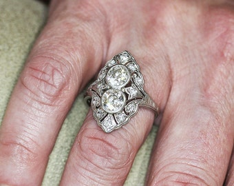 Vintage Art Deco Double Diamond Filigree Ring with Accents in Platinum 2.50ctw