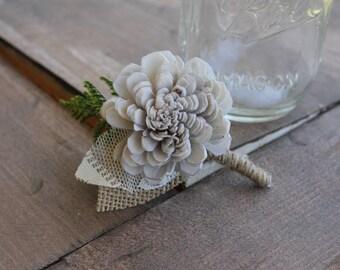 Silver Sola Flower Boutonniere, Silver Sola Wood Boutonniere, Silver Boutonniere, Silver Button Hole, Silver Boutonniere, Grey Boutonniere