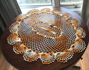 Vintage Crocheted Doily,Large Oval Table Topper,Variegated Orange and Yellow Centrepiece, Approximately 74 cm x 59 cm,Vintage Table Linens