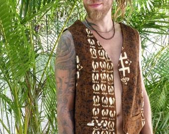 Jacket man African ethnic, camel, small pockets bogolan organic cotton