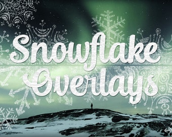 "Snowflake Overlays Clip Art - 12x12"" Art Photography Winter Overlays - Chalkboard Snowflake Overlays, Snow flake clipart, Digital Overlays"