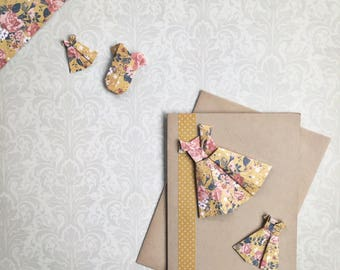 baby card featuring origami floral dresses and polka dot washi tape