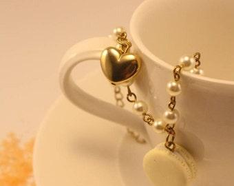 bracelet with handmade polymer clay macaron charm