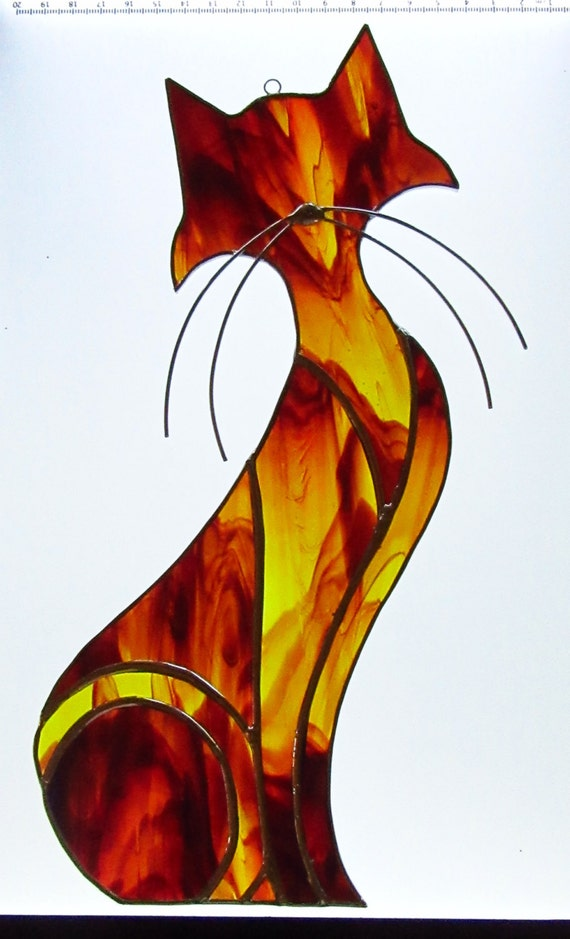 Stained Glass Cat,Window cat,Amber Cat, Mixed Colour Glass, Leadlight Cat,Cat Lover Gift, Kitchen Cat,12 inches,Ready to ship,Aussie Seller,