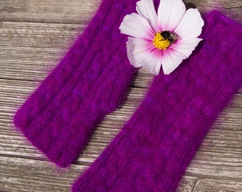 Purple Arm Warmers. Knitted from original Angora PURE yarn. Seidenhase.