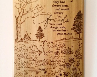 "Classic Pooh ""Friends"" Wood Burned Wall Hanging"