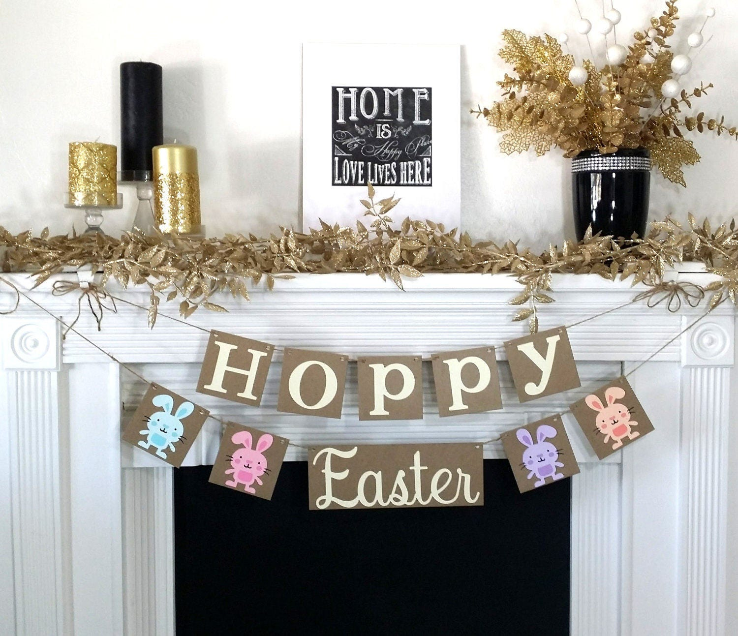 happy easter decoration hoppy easter banner rustic easter garland bunny trail - Easter Decoration