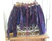 Pixie Skirt, Festival Clothing, Tattered Skirt, Unique Gypsy Skirt, Purple Upcycled Skirt, Boho Crochet Beach Cover Up~~FREE SHIPPING~~