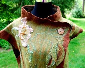 Forest Elf nuno felted vest, sleeveless jacket, woodland fairy, boho wearable art clothing