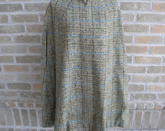 Vintage Pendleton Wool Cape / Deep Green & Gray Tweed with Blue / Made in USA / Transitional Wool Cape / Poncho / S/M