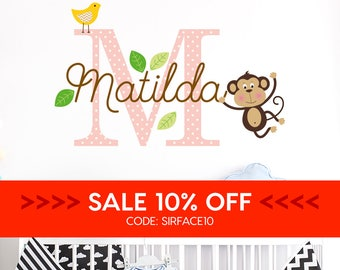 SALE • Personalised Name Initial Monkey Wall Decal - Baby Name Nursery Wall Sticker - Baby Decal - Baby Shower Gift - Monkey Wall Decal