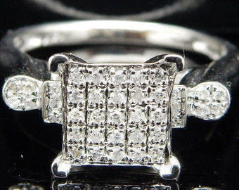 Solid 14K White Gold 0.25cttw H-I Round Brilliant Diamond Engagement Ring Sz 7; sku # 2224