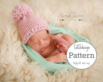Knitting Pattern Chunky Newborn Hat - Knit Baby Cap - Baby Hat - Pom Pom Baby Cap