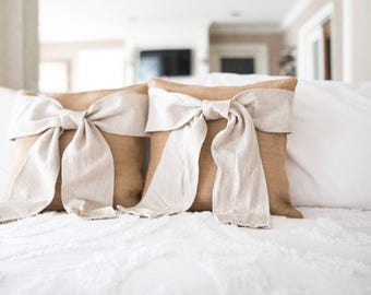 "Burlap Bow Pillow - Burlap and Cream Bow Pillow -Decorative Pillow Cover - 16""x16"""