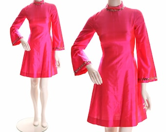 1960's Hot Pink Shimmery Sharkskin Sequin Go Go Mini Dress with Bell Sleeves-
