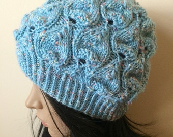 Winter hat, hand-knitted beanie, blue hat, leaf design