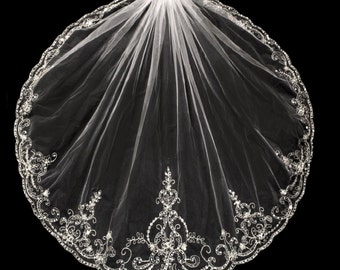Exquisite Beaded Silver Embroidery Wedding Veil in Elbow, Fingertip, Chapel, Cathedral, Royal and Regal Cathedral Length