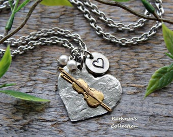 Violin Necklace, Violin Jewelry, Music Teacher Gift, Fiddle Necklace