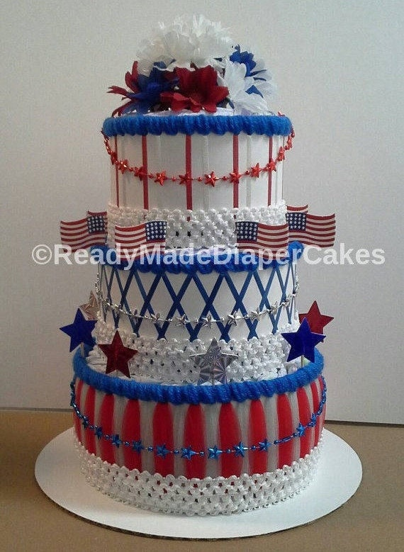 Readymadediapercakes Red White Blue Patriotic Diaper Cake 3