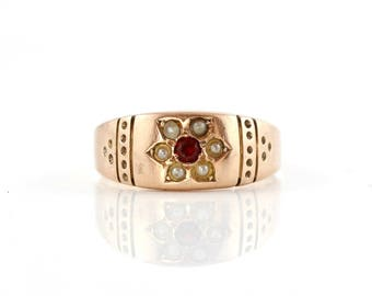 Victorian Garnet and Seed Pearl Ring, Antique Ring, 9 Carat Gold Pearl and Garnet Band Ring, Flower Ring, Engraved Ring