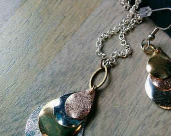 Ripples and Teardrops Necklace - Silver, gold, copper, tear drop, tassel, chest length, cat eye, layered, geometric, textured, sparkly