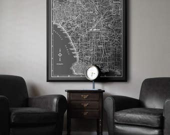 Los Angeles Map Print Version #2:  Black and White Los Angeles 1939 vintage large map print poster