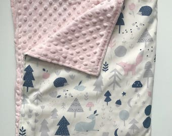 Baby Girl Blanket - Minky Baby Blanket - Modern Baby - Pink Navy White Gray - Animal Print Baby Blanket 34 by 52 inches - Woodland Nursery
