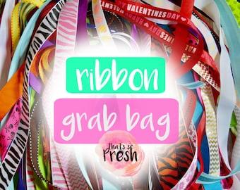 Ribbon Grab Bag, Ribbon Mix, Ribbon Lot, Ribbon for Bows, Ribbon Assortment, Grosgrain Ribbon Lot, Ribbon Fabric, Ribbon Trim,Printed Ribbon