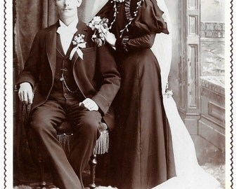 Antique Cabinet Photo Victorian Bride and Groom