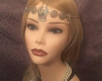 Flapper 1920's Boho Tribal Pewter Flapper Art Deco Feather Drop Headchain 20s Head Chain Headband Headpiece Gatsby Goddess Grecian (911)