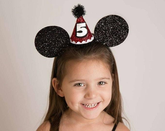 Glittery Mouse Ears Headband, birthday ears, Minnie Mouse Birthday, Minnie mouse headband, minnie ears, Mickey Mouse Birthday, Minnie