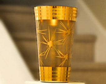 Spectacular Crystal Mid Century Modern Gold Atomic Large Vase Art Glass