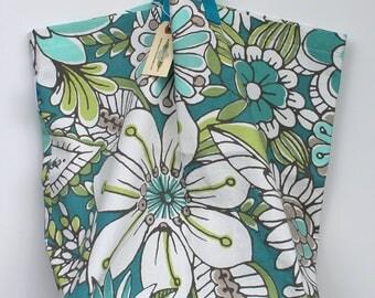 Canvas Bag: Blue Whimsical Flowers, washable