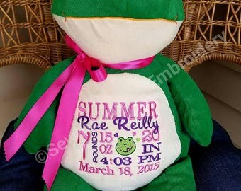 Personalized Baby Gift Personalized Stuffed Animal Embroidered Baby Gift Frog Stuffed Animal Birth Announcement by Sewbiz Embroidery Too