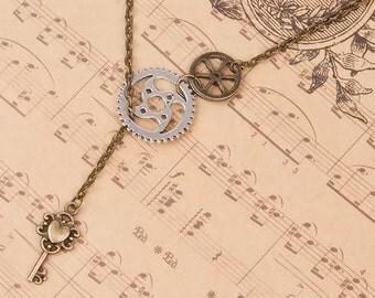 "Steampunk Y Shaped Lariat Necklace Antique Bronze Gear Key Pendants - 20 2/8"" long"