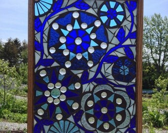 Blue Stained Glass Mosaic Panel  - Blue Flowers Stained Glass Panel - Mosaic Flowers Blue - Blue Floral Stained Glass Flowers Panel