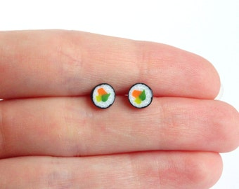 Miniature maki sushi ear studs stud earrings tiny Japanese food jewelry accessorries sushi lover gift post earrings sushi