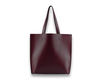 Smooth leather TOTE bag | #toxleather handmade tote | MAROON