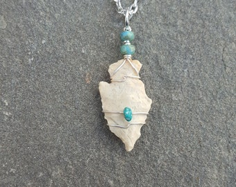 Small Ancient Native American Indian Arrowhead Wire Wrapped Pendant With Genuine Turquoise Nuggets ~ Authentic Prehistoric Artifact