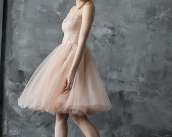 Nude lace and tulle bridesmaid dress, short prom dress, peach tulle party dress, sleveless lace dress, only one size EU36, ready to ship!