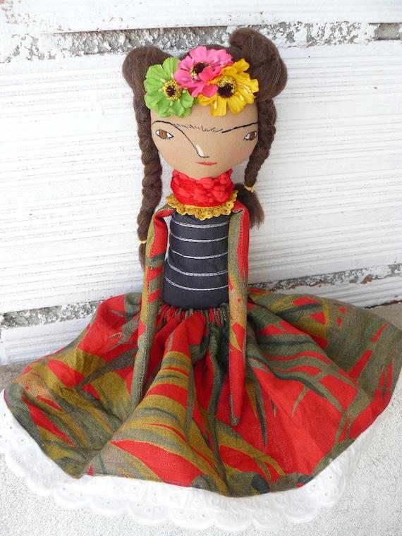 Frida Kahlo rag doll. 12,5 inches. Frida nº 8 2017 series.