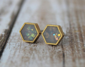 Opal Hexagon Stud Earrings- Brass Frame, Minimalist jewellery, Dainty Earrings, Sparkly Stud Earrings, Opal Studs, Clay Stud Earrings