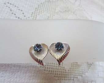 Vintage Van Dell sterling heart with blue rhinestone screw on earrings Wedding bridal Valentine