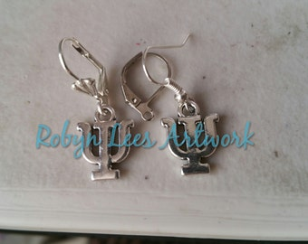 Small Silver Psi Greek Letter Symbol Charm Earrings on Silver Hooks, Leverbacks or Scalloped Leverback. Alphabet, Cute, Different, Gift