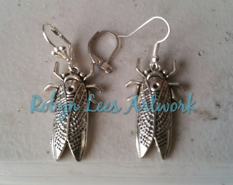 3D Silver Fly Grasshopper Insect Earrings on Silver Earring Hooks, Leverbacks or Scalloped Leverback. Garden, Nature, Animals, Victorian