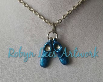 Small Blue Suede Shoes Charm Necklace on Silver Crossed Chain or Black Faux Suede Cord. Elvis Presley. Enamel