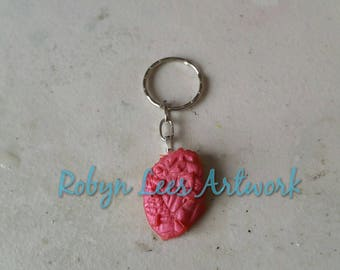 Metallic Pink Red Resin Shattered Heart Keyring on Silver or Bronze Split Ring or Bag Clip. Costume, Different, Anatomy, Gothic
